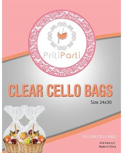 10 Pcs Clear Cellophane Bags - 24x30 1.2 MIL Glossy Cello Bag For Gift Basket Packaging High Quality Transparent Extra Large For Birthday Parties Wedding Favors Bridal Showers - By Priti Parti (24x30)